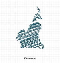 Doodle sketch of Cameroon map vector image