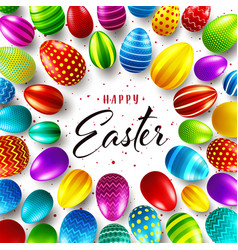easter background with realistic painted eggs vector image