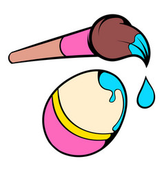 easter egg and paint brush icon icon cartoon vector image