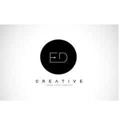Ed e d logo design with black and white creative vector