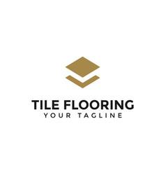 Elegant tile flooring logo design template vector