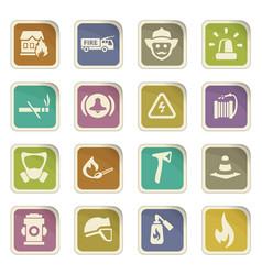 Fire brigade icons set vector