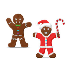 gingerbread man set two vector image