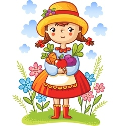 Girl with vegetables in the hands vector image