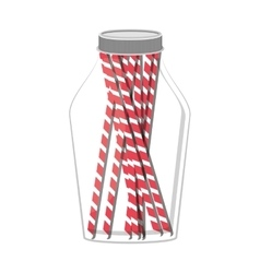 Glass jar with jar with multiple straw vector