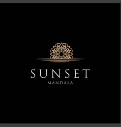 golden luxury sunset mandala lotus flower logo vector image