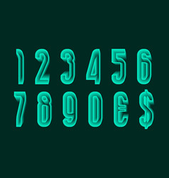 Green ethereal numbers with currency signs in vector