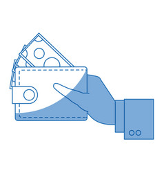 Hand with wallet money bill cash vector