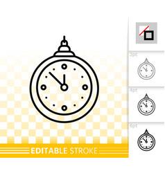 Hanging clock simple black line icon vector