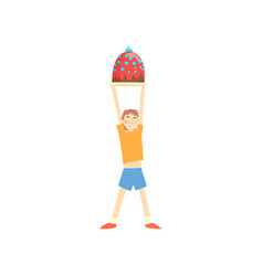 happy boy holding big cake over his head cartoon vector image