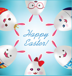 happy easter easter rabbit egg vector image