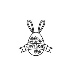 happy easter egg with ribbon bunny ears line icon vector image