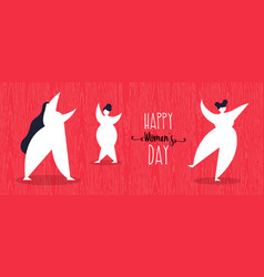 happy womens day web banner with girls dancing vector image