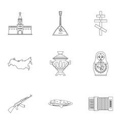 Holiday in Russia icons set outline style vector
