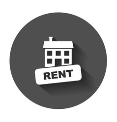 House for rent in flat style with long shadow vector