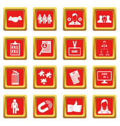 Human resource management icons set red vector