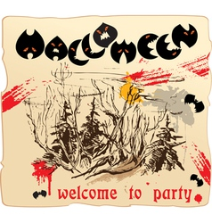 invitation card or placard to Halloween party vector image