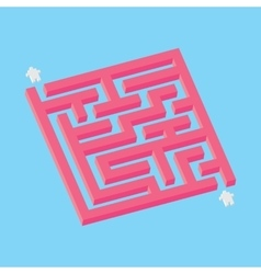 Isometric pink maze in pixel art style vector image