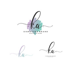 K a initial letter handwriting and signature logo vector