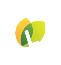 L letter leaf overlapping color logo icon vector