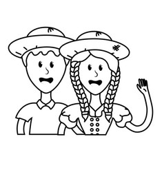 Line cute brazilian couple with hat and typical vector