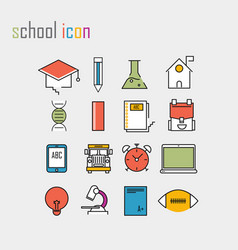 Line icons school school iconsmodern infographic vector