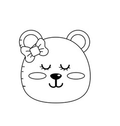 Line teddy bear girl head animal wild vector