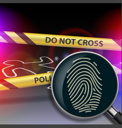 magnifying glass with fingerprint vector image