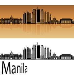 Manila skyline in orange vector