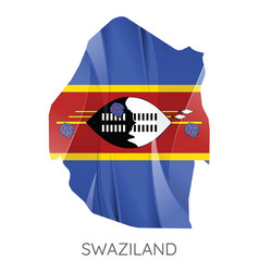 map swaziland with national flag vector image