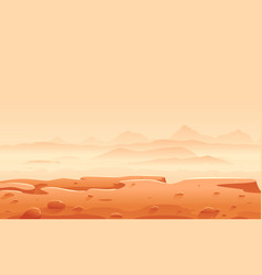 Martian valley landscape background vector