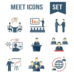 Meet business partners icons set vector