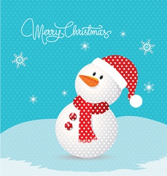 Merry christmas with snowman retro vector image