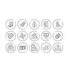 Money payment line icons accept transfer pay by vector