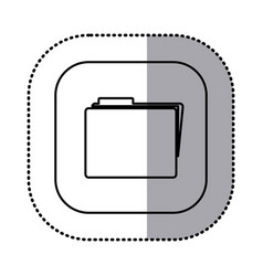 monochrome contour with square sticker of folder vector image