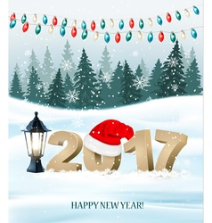 New Year background with a 2017 and santa hat vector image