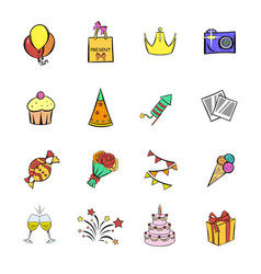 Party icons set cartoon vector
