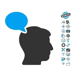 Person Opinion Icon With Air Drone Tools Bonus vector image