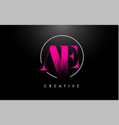 pink ae brush stroke letter logo design vector image