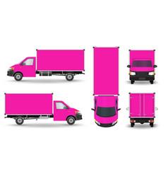 Pink van set cargo van isolated on white pink vector