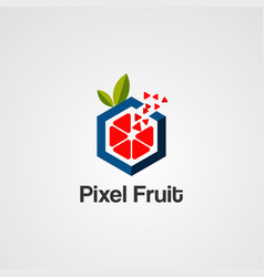 Pixel fruit logo icon element and template vector