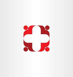 red cross icon people health vector image