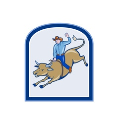 Rodeo cowboy bull riding cartoon vector