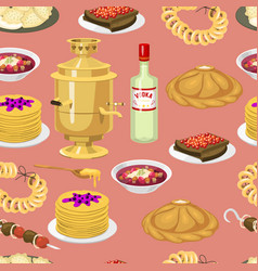 seamless pattern with russian cuisine traditional vector image