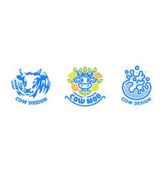 set cow logos vector image