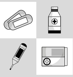 set medical tratment with first aid tools vector image