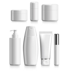 Set of cosmetics blank template package vector