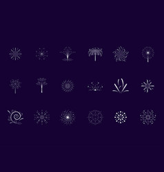set of fireworks scene icon vector image