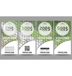Set of modern gift voucher templates Polygonal vector image