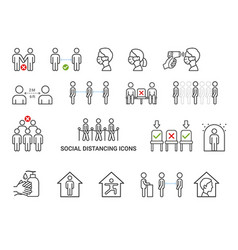 social distancing icons concept vector image